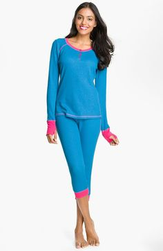 """Steve Madden Thermal Knit Pajamas available at Nordstrom    Size: Medium  Color: 'Sparkle Foil Pitch Black"""" (Black and Hot Pink)"""
