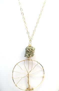Hand-made 14kt gold  and rough-cut pyrite tree of life..A little Boho, a little Glam  Oie jewelry