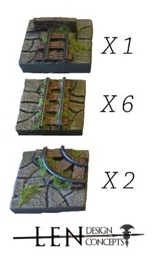 A Track Pack set to go with your mine. Each of the pieces are handmade and painted to order. The detailed tiles includes a stone pattern texture for the floor, rusted iron rails that sit on wooden support slats. The set includes the following:  6 Straight Rail Tracks  1 Rail Stop Track  2 Rail Turn Tracks