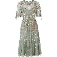 Needle & Thread Floweret Split Sleeve Embellished Dress (4.834.565 IDR) ❤ liked on Polyvore featuring dresses, embellished dress, embelished dress, green embellished dress, fit and flare dress and long-sleeve fit and flare dresses
