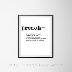 Pioneer Gift | Preach Definition | Dictionary Print | JW | Printable | jehovah | jw org | Jehovah's Witnesses 119 by AllThingsEverAfter on Etsy