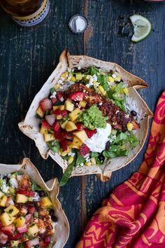 Mahi Mahi Burrito Bowls With Coconut Lime Rice and Strawberry Mango Salsa