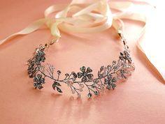 Diadema floral de boho, naturaleza inspirado vid pelo, tiara de cristal, tiara…
