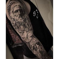 Amazing artist Christopher Crooked Lee @chriscrooked Bernini Jesus Virgin Mary tattoo sleeve ...