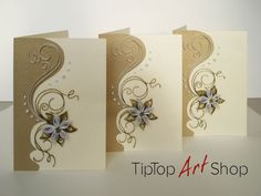 Set of 3 Blank Quilled Handmade Greeting Cards in Shades of Gold with Paper Flower; Paper Quilling Cards, Paper Quilling Patterns, Origami And Quilling, Quilled Paper Art, Quilling Paper Craft, Quilling Designs, 3d Paper, Paper Quilling For Beginners, Quilling Techniques