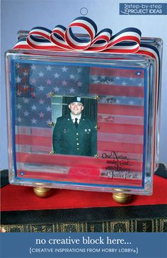 patriotic glass block for your Eagle Scout. Put  scrapbooked pic into the box, put a mini set of clear lights behind