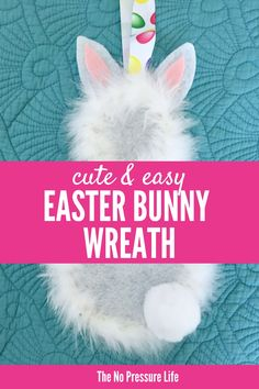 Learn how to make a DIY Easter Bunny Wreath with this simple tutorial. Love how fluffy it is with it