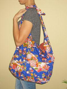 Shoulder, Slouch, Hobo Bag Japanese Floral, Fans & Butterflies Design Bright Blue by JapanesqueAccents on Etsy