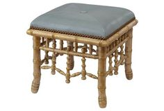 Echo Leather Stool, Gold/Seafoam