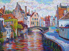 Bruges Canal, oil on canvas, Elizabeth Elkin