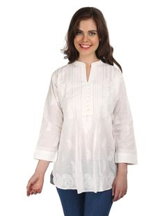 You can never go wrong with this  chikankari tunic crafted using pure cotton fabric especially for those women who love to flaunt their real self. And while the world is going organic and green in every sense, this beautiful chikankari tunic  just lets you be in the flow—is handmade, minimalistic in its design yet high on its appeal and much in lines with today's fashion.     An integral part of Indian culture since 655AD, chinkankari has been strongly rekindled to match the taste of today's…