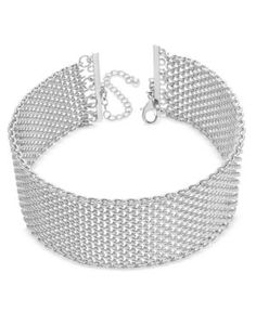 Inc International Concepts Wide Mesh Choker Necklace, Only at Macy's  - Silver
