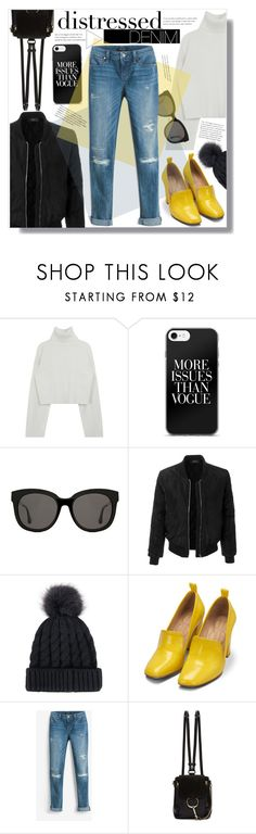 """""""Distressed Denim"""" by yoo-q ❤ liked on Polyvore featuring Gentle Monster, LE3NO, Bill Blass, White House Black Market, Chloé and distresseddenim"""