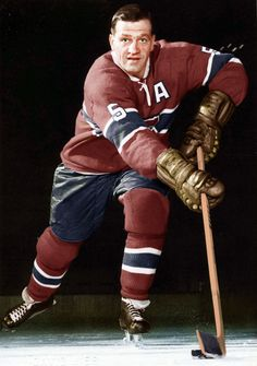 """Bernie """"Boom Boom"""" Geoffrion - Montreal Canadiens. (Colorized Photo). (1950's) Montreal Canadiens, Hockey Teams, Ice Hockey, Boston Bruins Hockey, Colorized Photos, Star Wars, Rough Riders, Canada, Hockey Cards"""