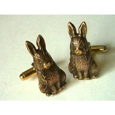 Rabbit Cufflinks Brass Class Men's Accessories Men's Gifts Men's... (1.605 RUB) ❤ liked on Polyvore featuring men's fashion and men's accessories