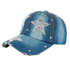 f2db42cfc5c Denim Rhinestone Baseball Cap. Denim Snapback Stars Rhinestone Baseball Cap  Snapback Hip Hop Hat ...