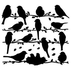 Birds on a vine silhouette - printables. Would be a cute stencil. Vogel Silhouette, Bird Silhouette, Silhouette Projects, Silhouette Painting, Silhouette Cameo Files, Free Silhouette, Vintage Silhouette, Bird Template, Paper Art