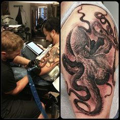 Tattoo by Remigijus Cizauskas at Remis Tattoo Tattoo Skin, I Tattoo, Cool Tattoos, Squid Tattoo, Skin Art, Tattoo Inspiration, Tatting, Piercings, Ink