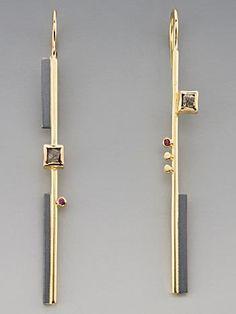 Earrings   Janis Kerman. 18k, sterling with patina, diamonds, pink sapphire