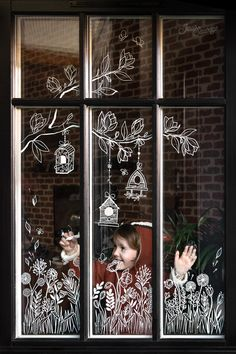 Christmas Crafts For Kids To Make, Christmas Home, Christmas Window Decorations, Christmas Chalkboard, Christmas Drawing, Window Art, Chalkboard Art, Diy And Crafts, Image Maker