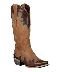 Chocolate Brown & Turquoise Dolly Leather Cowboy Boot Lane Boots
