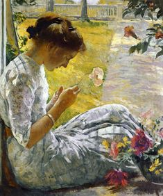 Edmund C. Tarbell (American 1862–1938) [Impressionism, Mercie Cutting Flowers (1912) Currier Museum of Art, Manchester, NH. – The Athenaeum