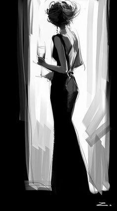Silhouette fashion illustration