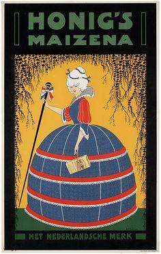 Reclame posters   1900 - 1925   Honig's maizena het Nederlandsche merk   Vintageposter.nl   Vintage Posters   Historische Posters   Historic...