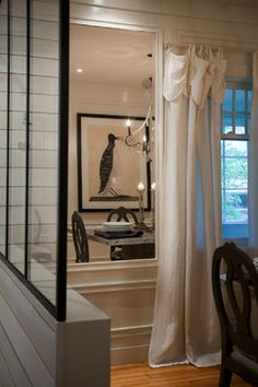Rollande Vachon owner of Moutarde Décor: Glass divider on half wall between kitchen and dining room & mirror inset into wall Main Entrance, European Style Homes, Half Walls, Mudroom, Decoration, Oversized Mirror, Divider, Window, Dining Room