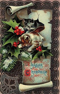 Vintage Christmas card, Happy Christmas, kittens and holly