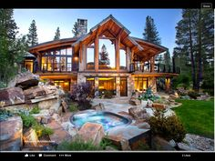Dream House - Luxury Rustic Design Photos) - image for you Haus Am See, Cabin In The Woods, Timber Frame Homes, Timber Frame Home Plans, Wood Homes, Rustic Homes, Log Cabin Homes, Log Cabins, House Goals