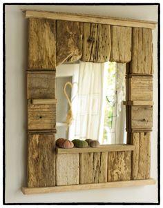 Black Friday/Syber Monday,Decorative Mirror, Driftwood Mirror, Beach Cottage Style Mirror, Handmade Mirror, Patchwork Mirror. $115.00, via Etsy.