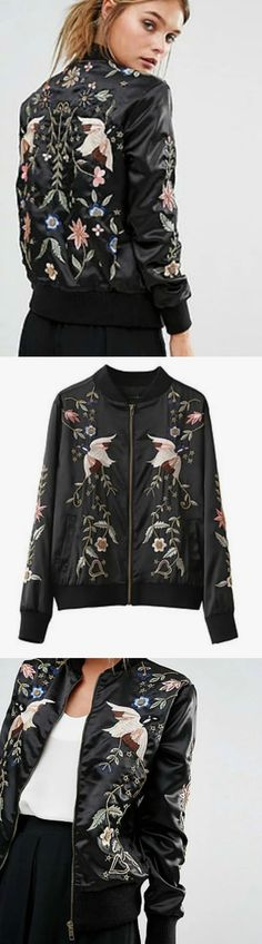 $75 - Black Embroidery Bomber Jacket is Now Available at Pasaboho ( this jacket exhibits unique embroidered floral and birds )
