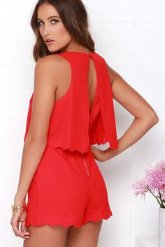 688ae5bc549 Ahead of the Curves Scalloped Red Romper