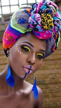 New braids tribal makeup Ideas - African African Tribal Makeup, African Beauty, African Style, Black Is Beautiful, Beautiful Women, African Dresses For Women, African Women, African Attire, African Scarf