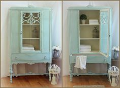 Annie Sloan Louis Blue mixed with English Yellow and Old White.  Coast to Cottage - Painted Furniture  #anniesloan #oldwhite #louisblue #englishyellow #hutch