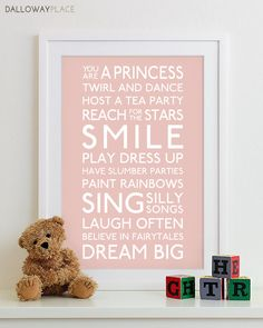 Kids Wall Art Nursery Print - sign family rules art subway roll bus playroom rules baby shower gift childrens room - Girl 12x18. $21.00, via Etsy.
