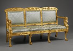 """2 of 3: An Italian Empire Ensemble of Two Armchairs and Two Sofas-. An impressive and beautifully carved ensemble of two armchairs and two sofas designed by Filippo Pelagio Palagi (Bologna 1775 – Turin 1860) and executed by furniture maker Gabriele Capello """"Moncalvo"""". Possibly, Turin, circa 1935"""