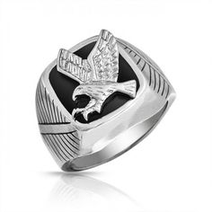 Bling Jewelry Patriotic Mens Black Enamel Stainless Steel Eagle Ring from Bling Jewelry - Eagles are considered spiritual messengers between gods and humans in some Cheap Silver Jewelry, Bling Jewelry, Men's Jewelry, Fashion Jewelry, Color, Cool Rings For Men, Eagle Ring, Mens Band Rings, Rings
