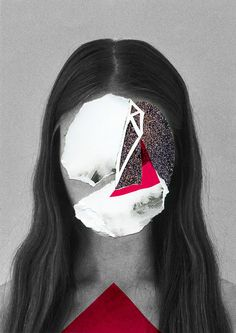 RED COLLAGE Handmade #collage of COLORS Serie by Rocío Montoya www.rociomontoya.com #portrait #nature #experimental #woman #collageart #cutandpaste
