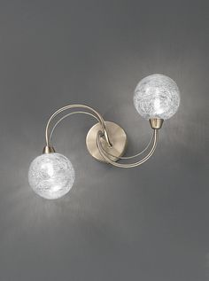 FL2328/2 Gyro 2 light wall or ceiling fitting, bronze and glass. Bronze finish metalwork with clear glass spheres filled with fixed, spun glass strands. Can be used as a flush ceiling light or double wall light. Supplied with osram mains voltage bulbs which are suitable for dimming. 2 x 33w G9 Lamps Included Projection- 14cm Width- 38cm x 20.5cm BRAND- Franklite REFERENCE- FL2328/2 AVAILABILITY: 3-4 Working Days
