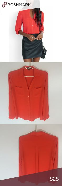 Express Neon Orange Portofino Shirt So cute and perfectly on trend! Excellent condition. No stains or flaws. Size small. Express Tops Blouses