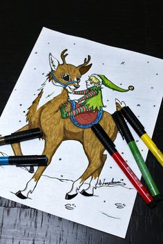 Christmas Colouring Page, Deer Colouring Page, Deer and Elf, Christmas Forest Coloring Pages, Deer Coloring Pages, Christmas Coloring Pages, Printable Coloring Pages, Colouring, Adult Coloring, Handmade Items, Handmade Gifts, Christmas Colors