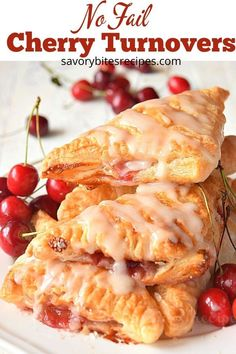 No Fail – Cherry Turnovers! You wont be able to decide if they are store bought or homemade-so easy cherry turnovers with homemade cherry pie filling and vanilla glaze! Cherry Desserts, Cherry Recipes, Köstliche Desserts, Delicious Desserts, Dessert Recipes, Cherry Pie Filling Desserts, Recipes With Cherries, Cherry Ideas, Apple Desserts
