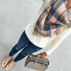toothpick distressed ankle jeans, Plaid blanket scarf, Mini Robinson, Classic Crewneck Sweater, Ferragamo vara pumps, fall outfit, plaid scarf, grey handbag, petite distressed jeans - click the photo for outfit details!
