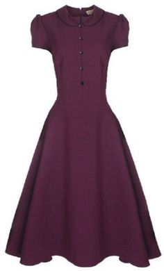 0cb097781840 Lindy Bop  Rhonda  Vintage 1950 s Plum Polka Dot Peter Pan Collar  Rockabilly Swing