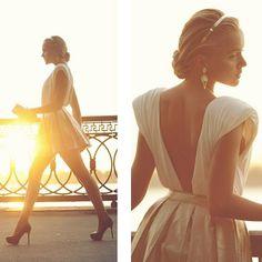 Cream open back dress**