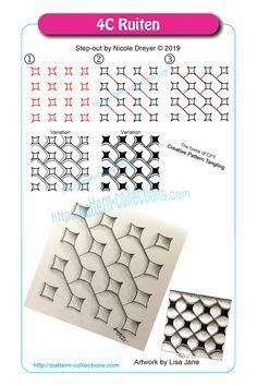 Ruiten by Nicole Dreyer Graph Paper Drawings, Zentangle Drawings, Doodles Zentangles, Doodle Drawings, Doodle Zen, Tangle Doodle, Easy Zentangle Patterns, Doodle Patterns, Zantangle Art