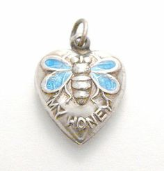 Vintage Sterling Silver Enamel Bee My Honey Puffy Heart Charm sold 225.00 laurie