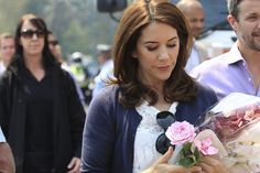 Denmark's Crown Prince Frederik and Crown Princess Mary visit the Blue Mountains town of Winmalee on Sunday.